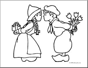 Black and whiteholland clipart png black and white Clip Art: Dutch Kids (coloring page) I abcteach.com | abcteach png black and white