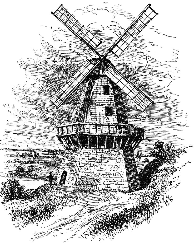 Black and whiteholland clipart image library Sketch of old, vinetage windmill | Dutch Clip Art in 2019 | Windmill ... image library