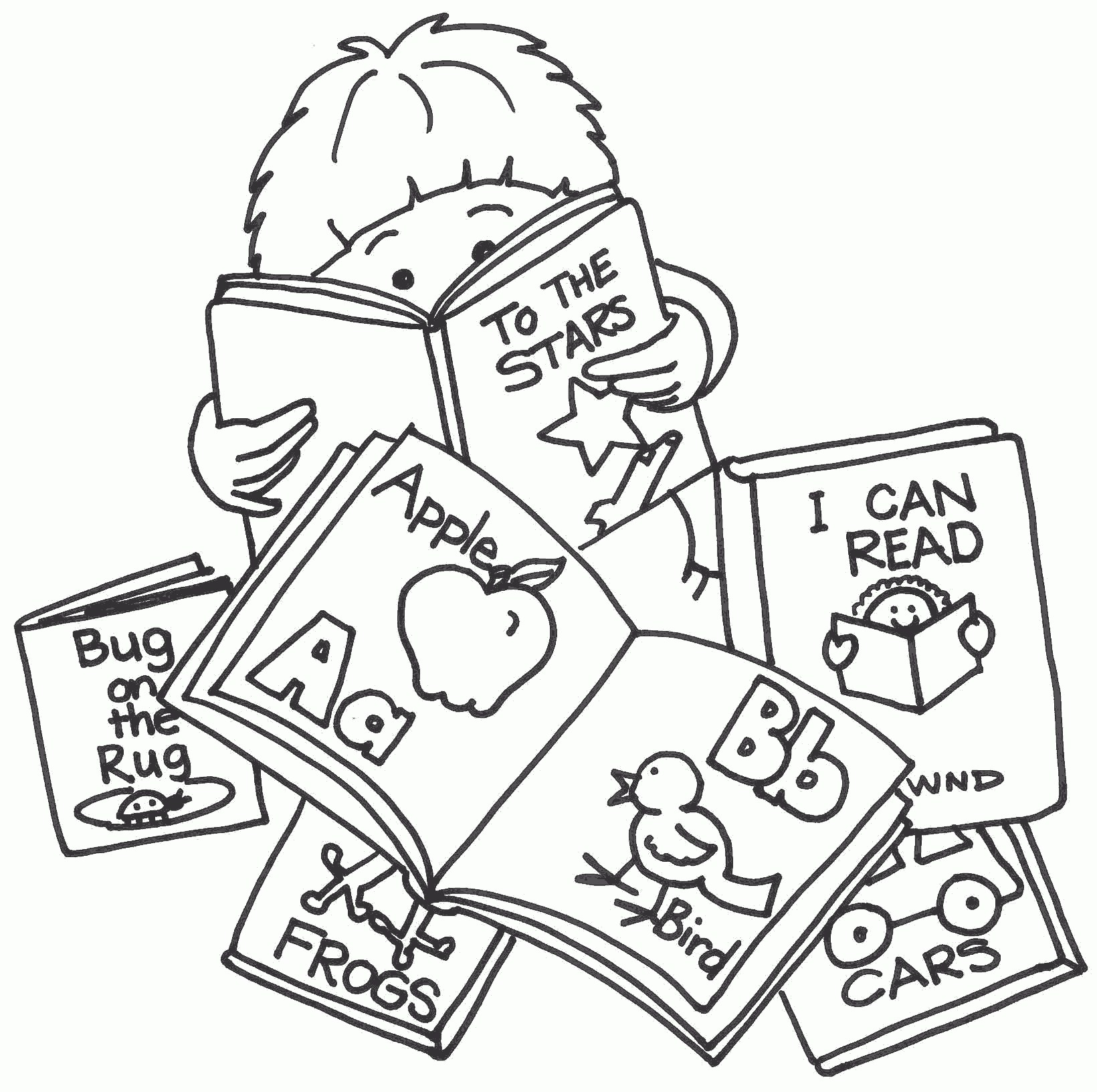 Best Reading Clipart #3168 – Clipartion within Best Of Kid Reading ... black and white