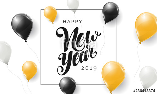 Black and yellow 2019 clipart graphic freeuse Happy New Year 2019 vector lettering. Modern calligraphy. Holiday ... graphic freeuse