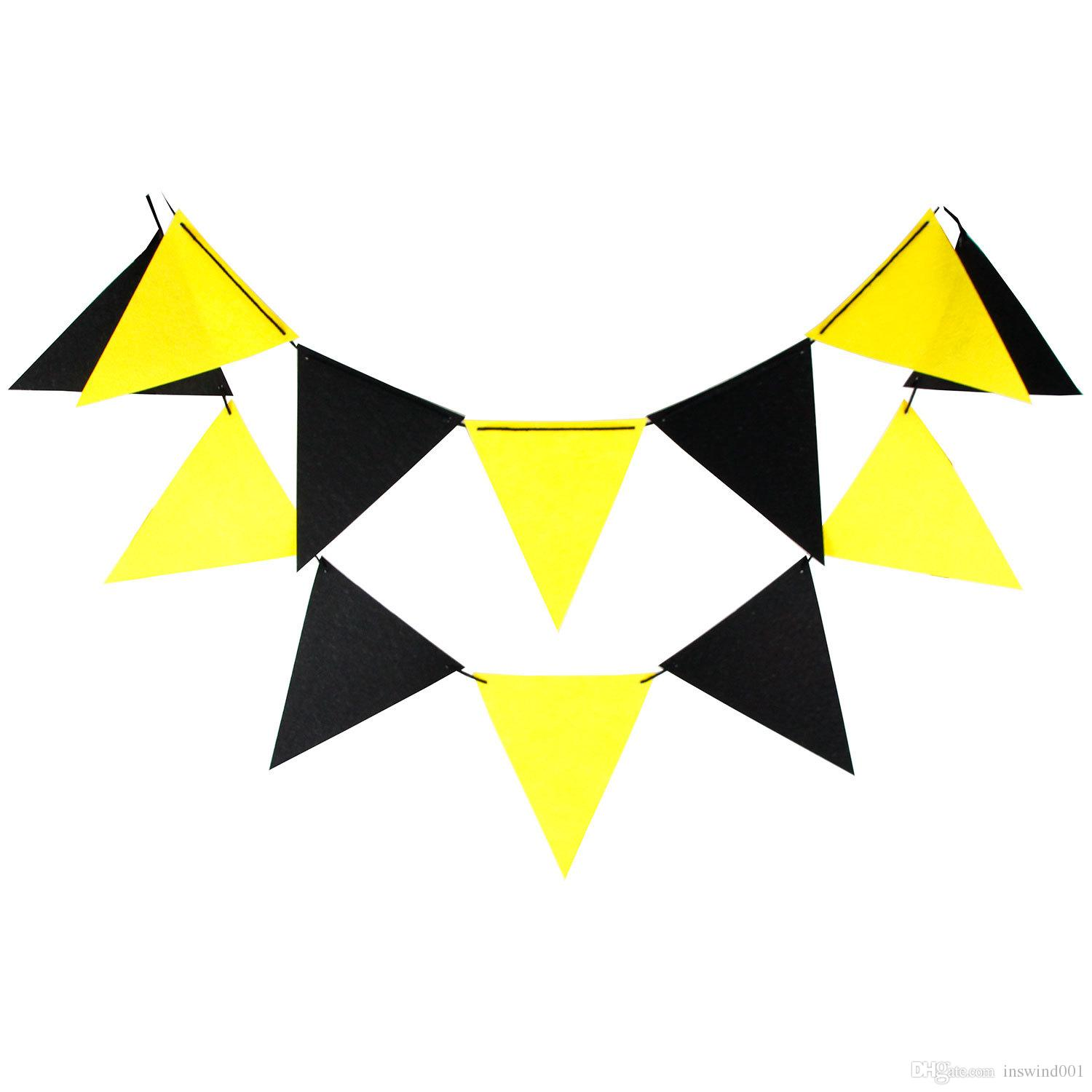 Black and yellow 2019 clipart graphic freeuse download Felt Cloth Flags Banner Garland Pennant Black Yellow For Children s  Birthday Graduation Hanging Decoration Suppliers 12 Pcs 3M graphic freeuse download