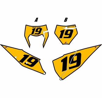 Black and yellow 2019 clipart svg freeuse library Fits KTM 150 SX 2019-2020Yellow Number Plates with Black Bold Pinstripe svg freeuse library