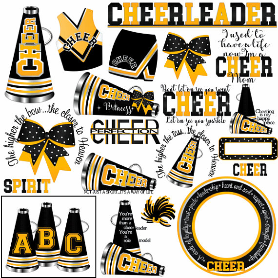 Black and yellow football clipart vector royalty free library Cheer clipart, MORE COLORS, 50+ graphics, black yellow gold ... vector royalty free library