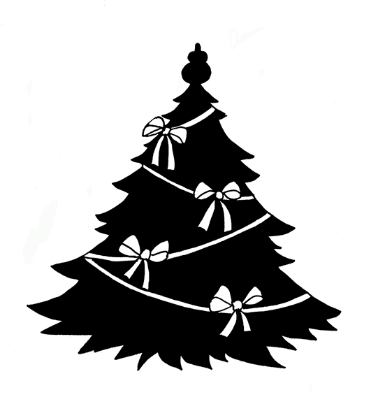 Black and yellow only christmas ornaments clipart png stock Christmas Silhouettes png stock