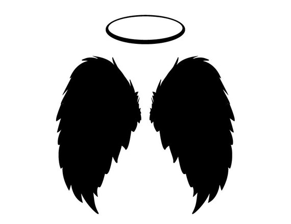Black angel wings clipart jpg free ANGEL WINGS & HALO, Black Feathers Flying – Instant Download ... jpg free