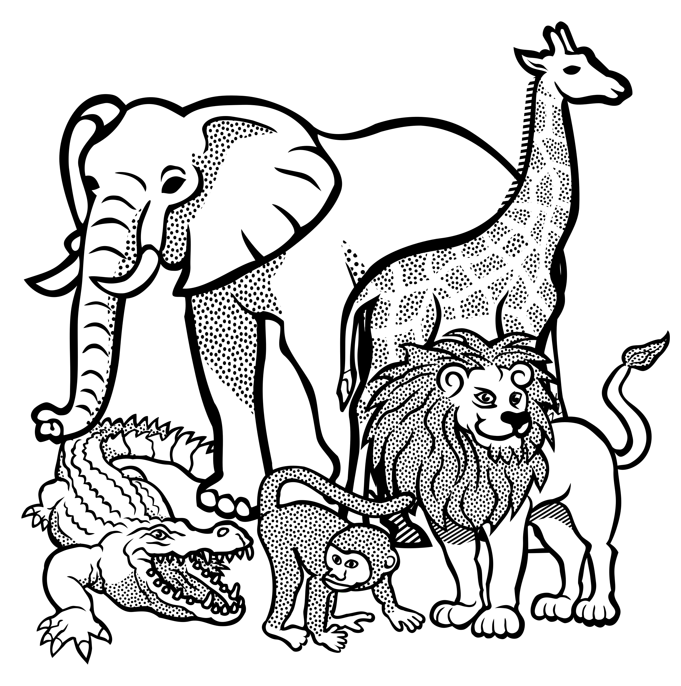 Jungle animals black and white clipart jpg royalty free library Unique Jungle Animals Clip Art Black And White Drawing » Free Vector ... jpg royalty free library
