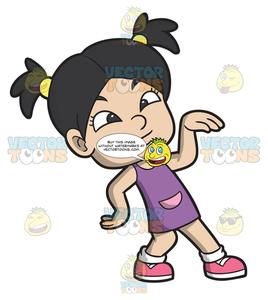 Black asian white kids clipart vector An Asian Girl Doing The Robot Dance vector