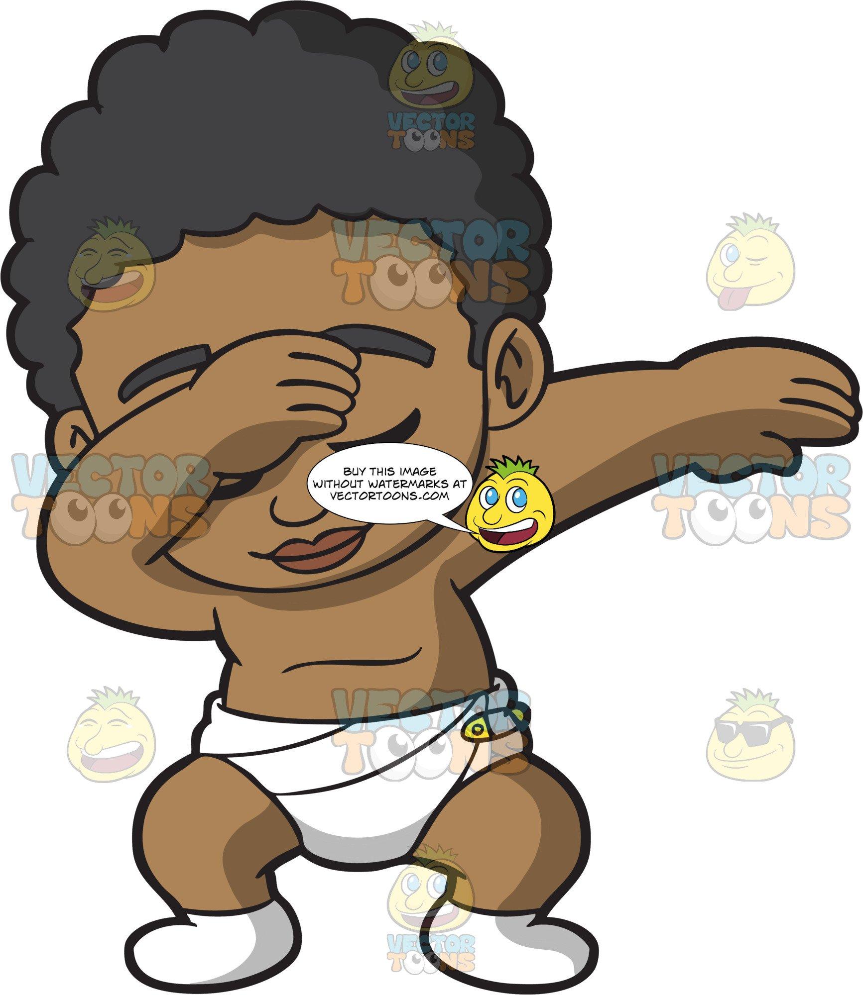 Black baby cartoon clipart vector black and white download A Dabbing Black Baby Boy vector black and white download