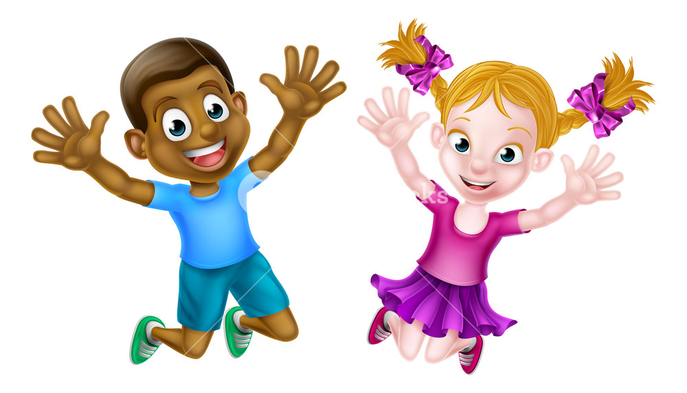 Black boy in nature clipart vector black and white stock Cartoon young boy and girl, one black and one white, jumping for joy ... vector black and white stock