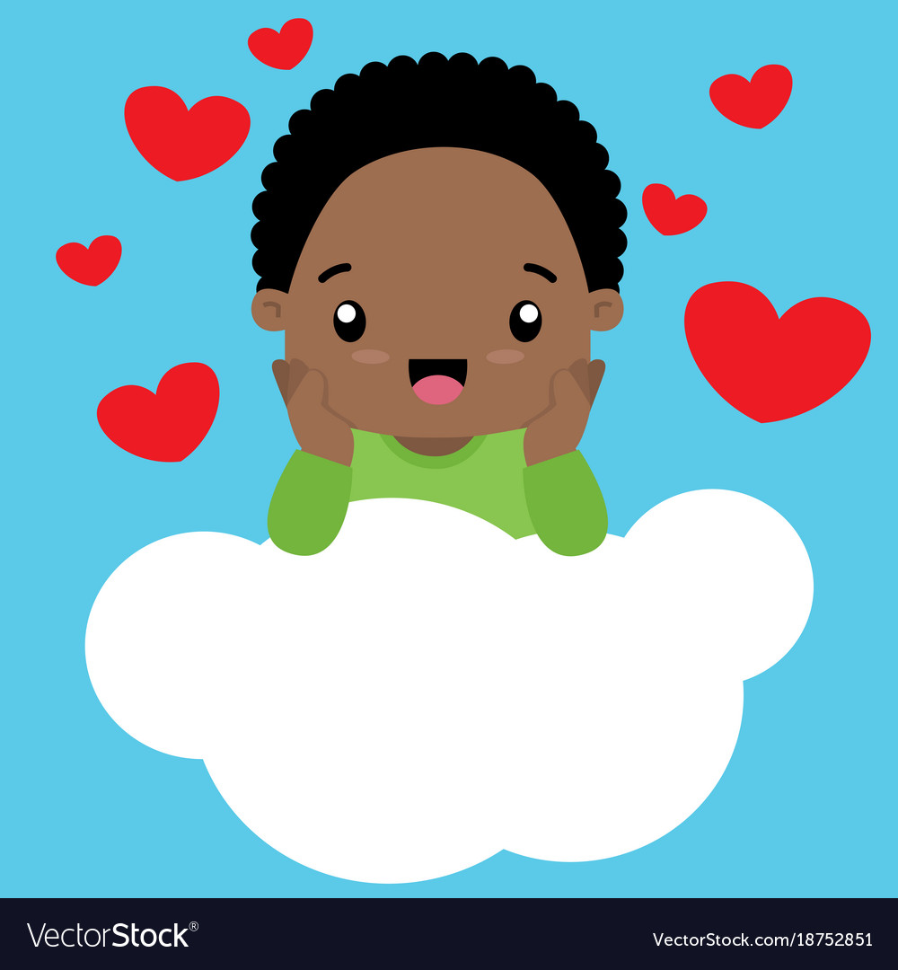 Black boy in nature clipart banner free download Cute little black boy in love sitting on a cloud banner free download