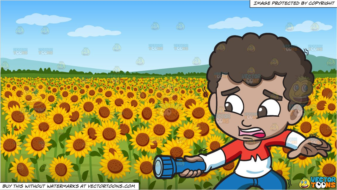 Black boy in nature clipart clip art free download A Scared Black Boy Holding A Flashlight In The Dark and A Field Of  Sunflowers Background clip art free download