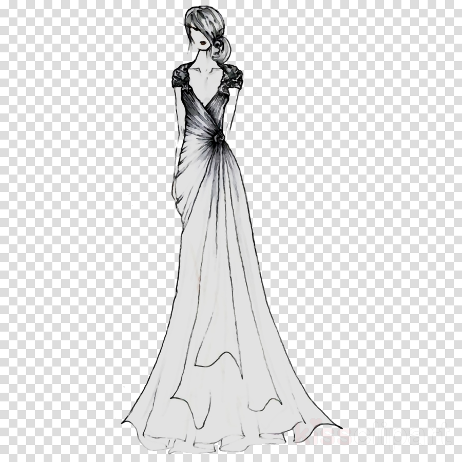 Bridesmaid dress clipart svg transparent download Wedding Dress Clipart Black And White | Saddha svg transparent download