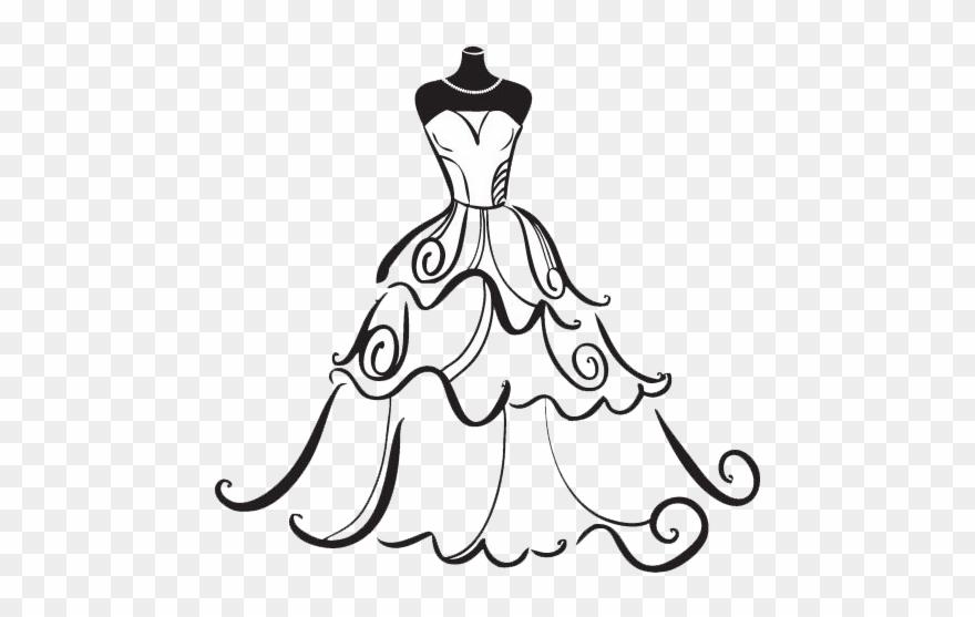 Black bridesmaid dress clipart vector black and white Jpg Freeuse Stock Dress Bride Clip Art - Wedding Dress Clipart - Png ... vector black and white