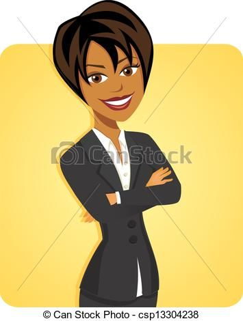 Black business figures clipart femle svg stock Vectors of Cartoon of black business woman posing with yellow ... svg stock