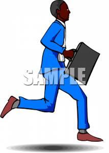 Black businessman clipart svg free stock A Black Businessman Running Late - Royalty Free Clipart Picture svg free stock
