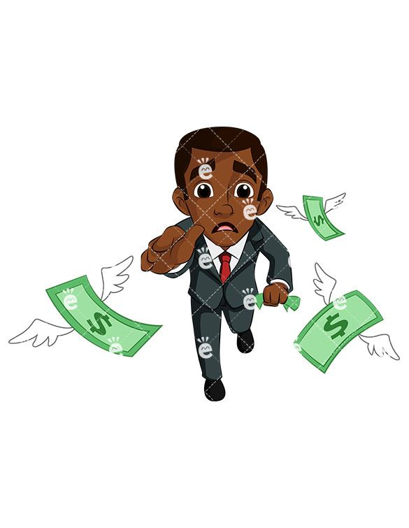 Black businessman clipart clip library stock A Black Businessman Pursuing Money As It Flies Away From Him in 2019 ... clip library stock