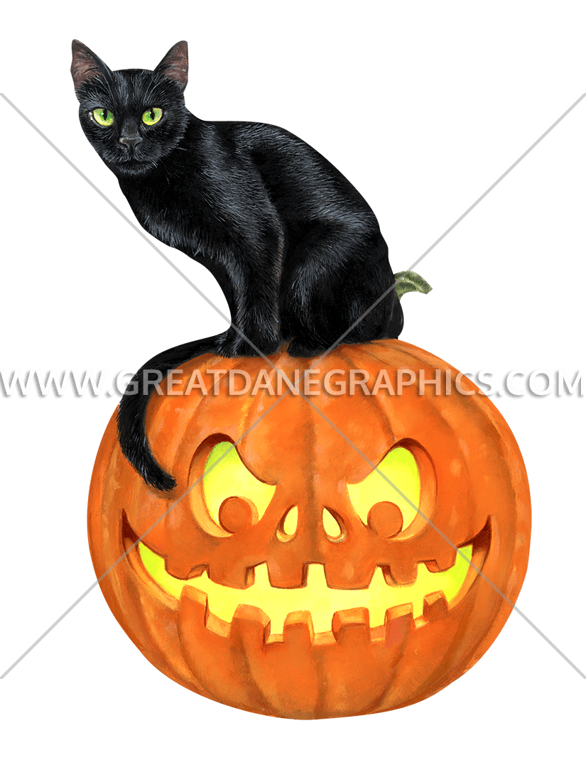 Cat and pumpkin clipart graphic freeuse stock Black Cat On Pumpkin | Production Ready Artwork for T-Shirt Printing graphic freeuse stock