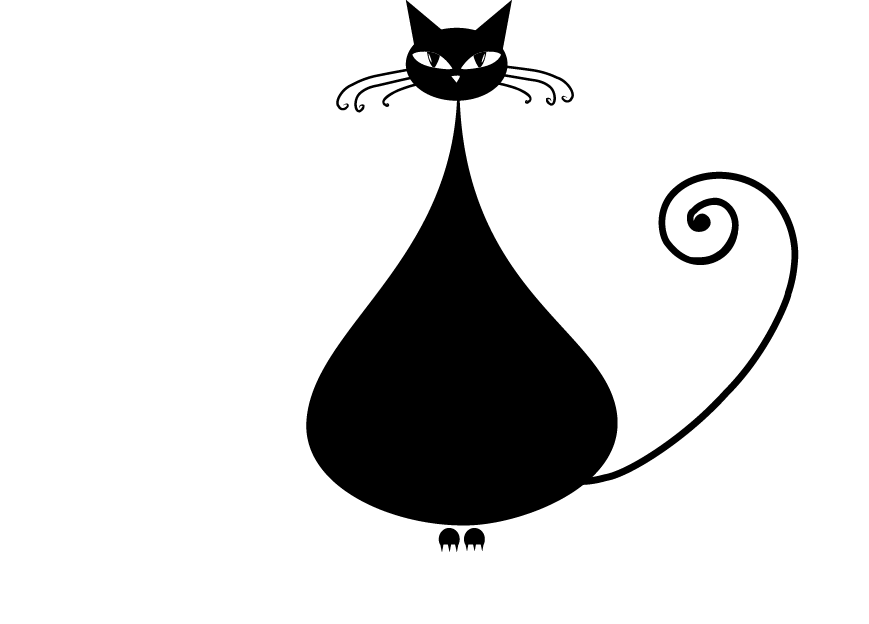 Cartoon black cat clipart clip black and white stock Black cat Kitten Clip art - Cute cartoon black kitten 869*624 ... clip black and white stock