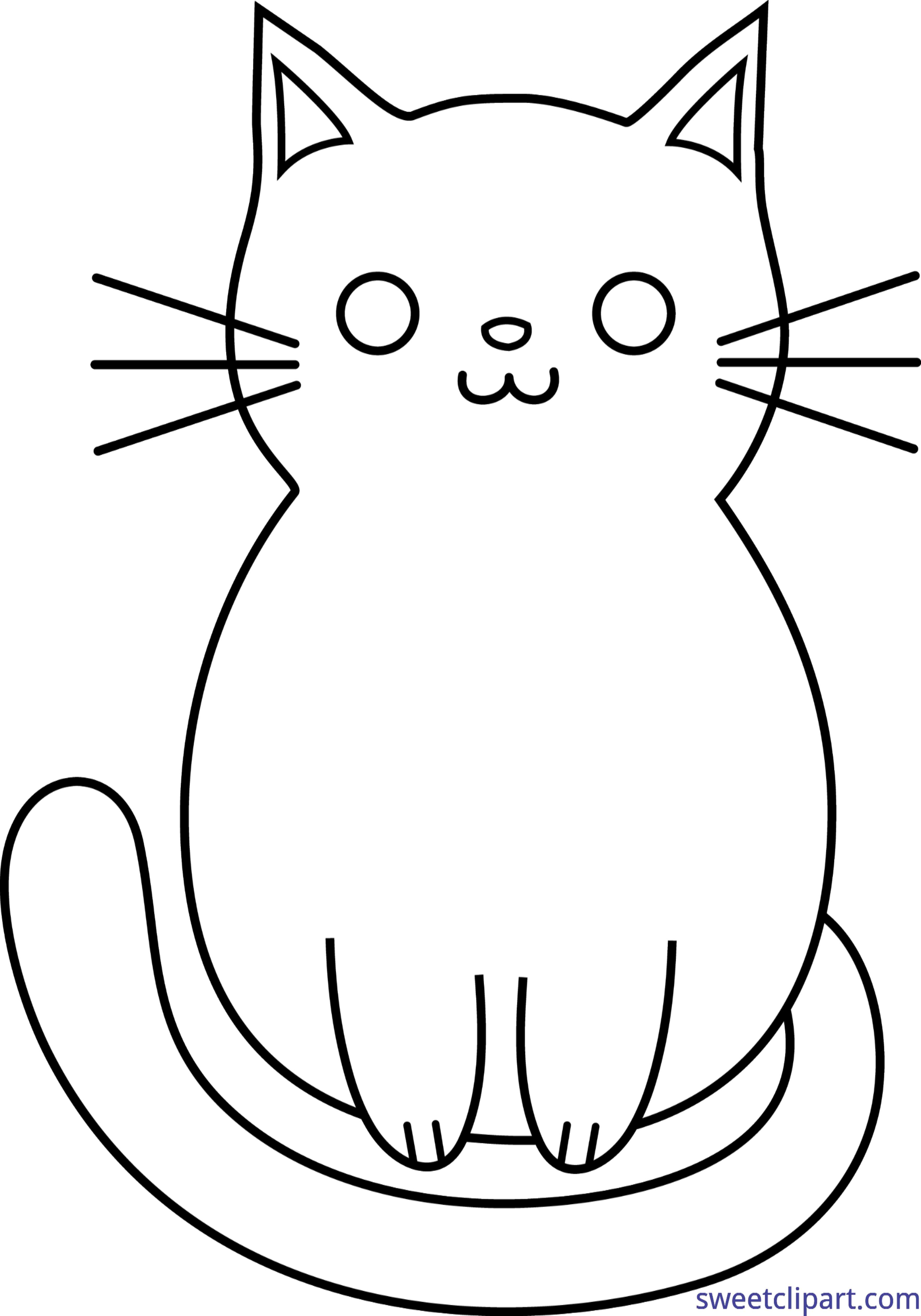 Cat head black and white clipart jpg freeuse download Cat Cute Lineart Clip Art - Sweet Clip Art jpg freeuse download