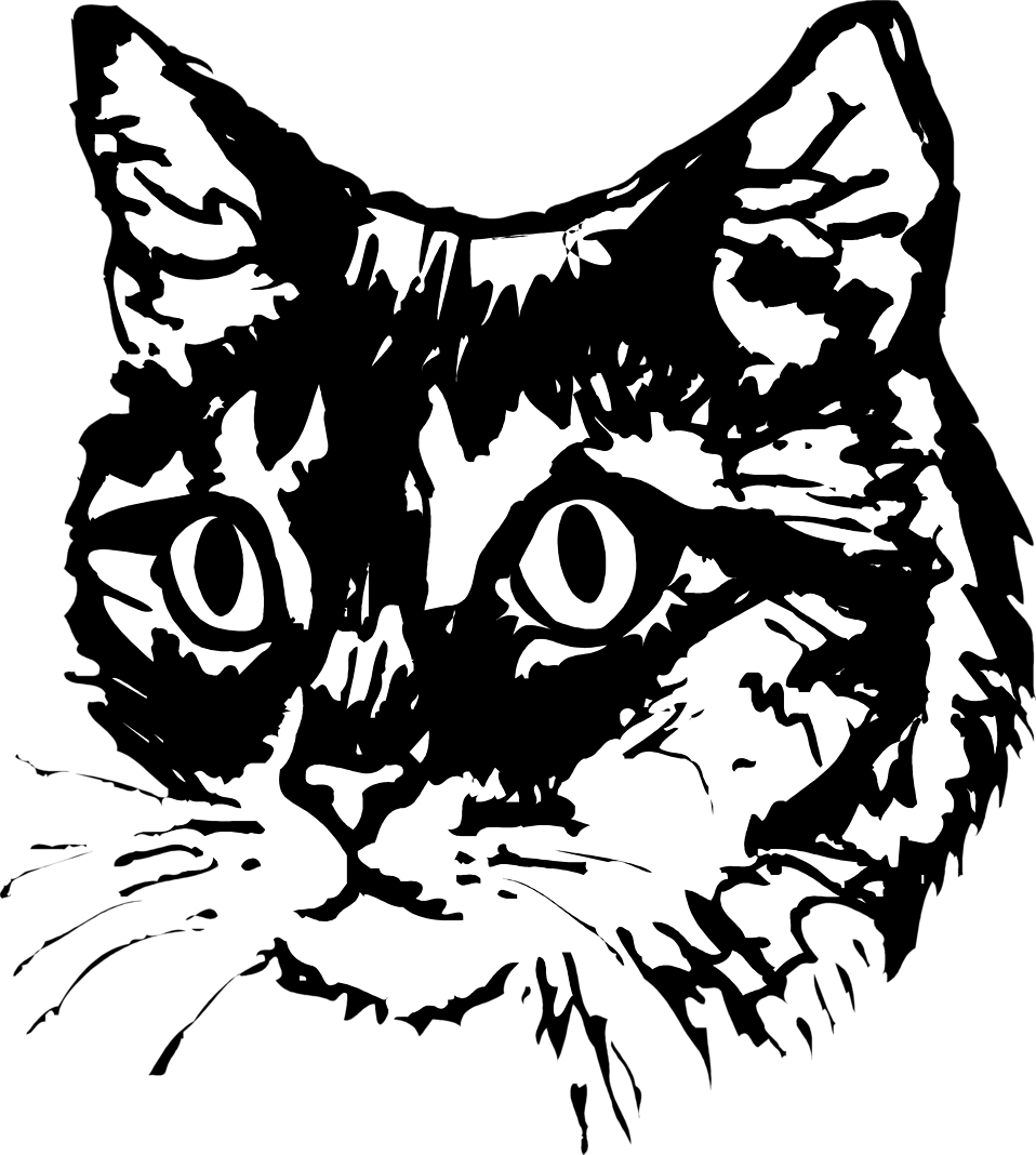Free black and white pete the cat clipart clip royalty free download Cats | Free Stock Photo | Illustration of a cat face | # 3433 clip royalty free download