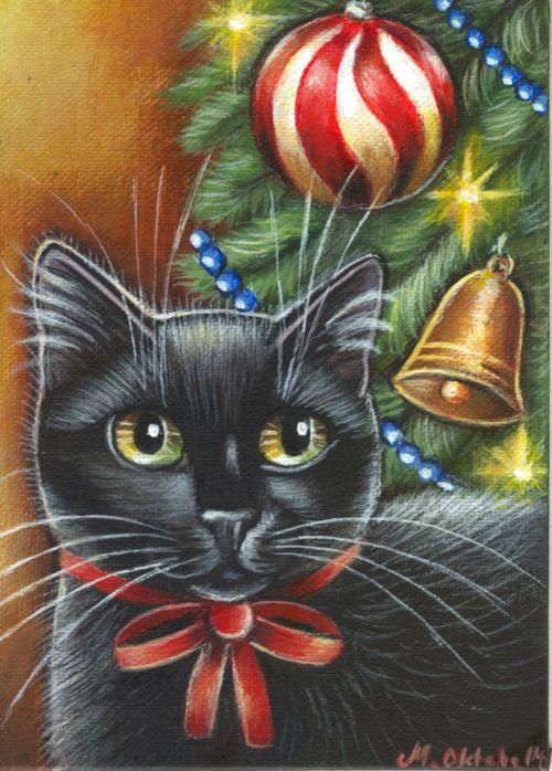 Black cat under christmas tree clipart clip art library library Black Cat - Christmas Painting   Cats Decor   Cat christmas tree ... clip art library library