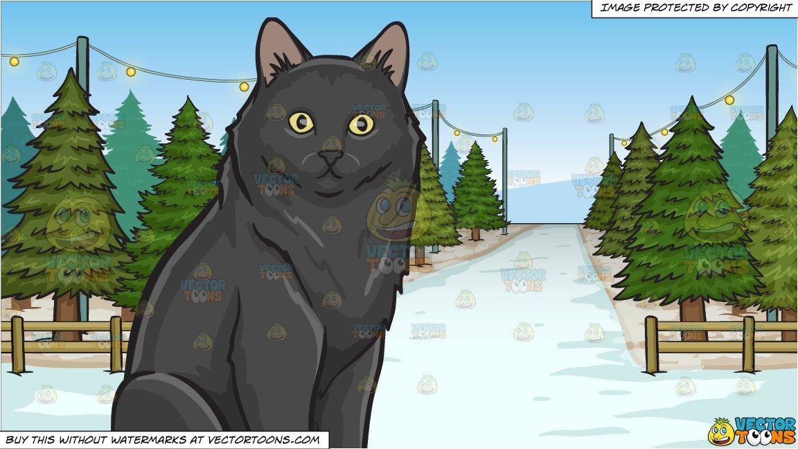 Black cat under christmas tree clipart image black and white library A Surprised Black Cat and Christmas Tree Lot Background image black and white library