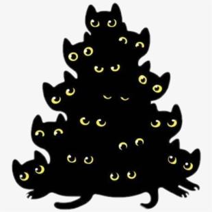 Black cat under christmas tree clipart clipart freeuse stock freetoedit #cute #kawaii #bunchofanimals #bunch #cat - Christmas ... clipart freeuse stock