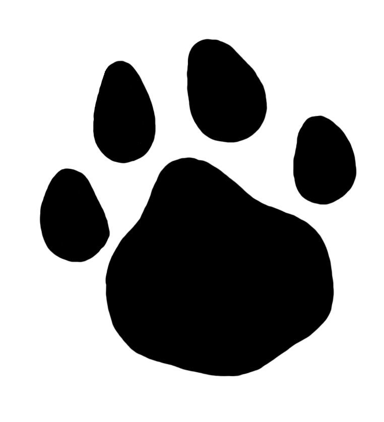 Dog paw clipart black and white