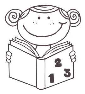 Black child counting clipart black and white Child Cartoon Clipart Image - Coloring Page of a Little Girl with a ... black and white