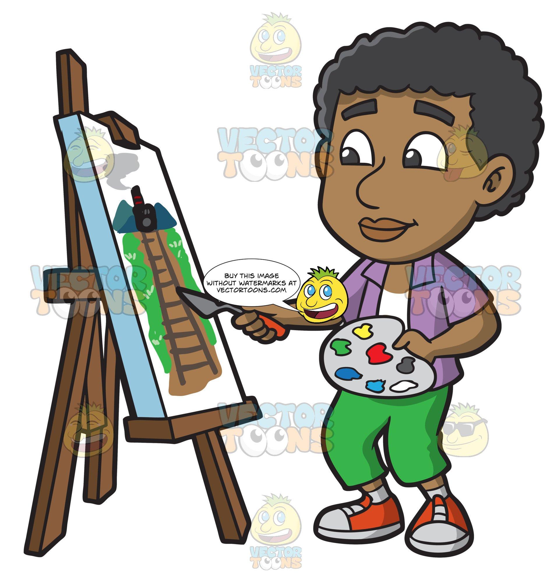 Black child painting clipart clip art transparent stock A Black Boy Painting A Rail Landscape clip art transparent stock