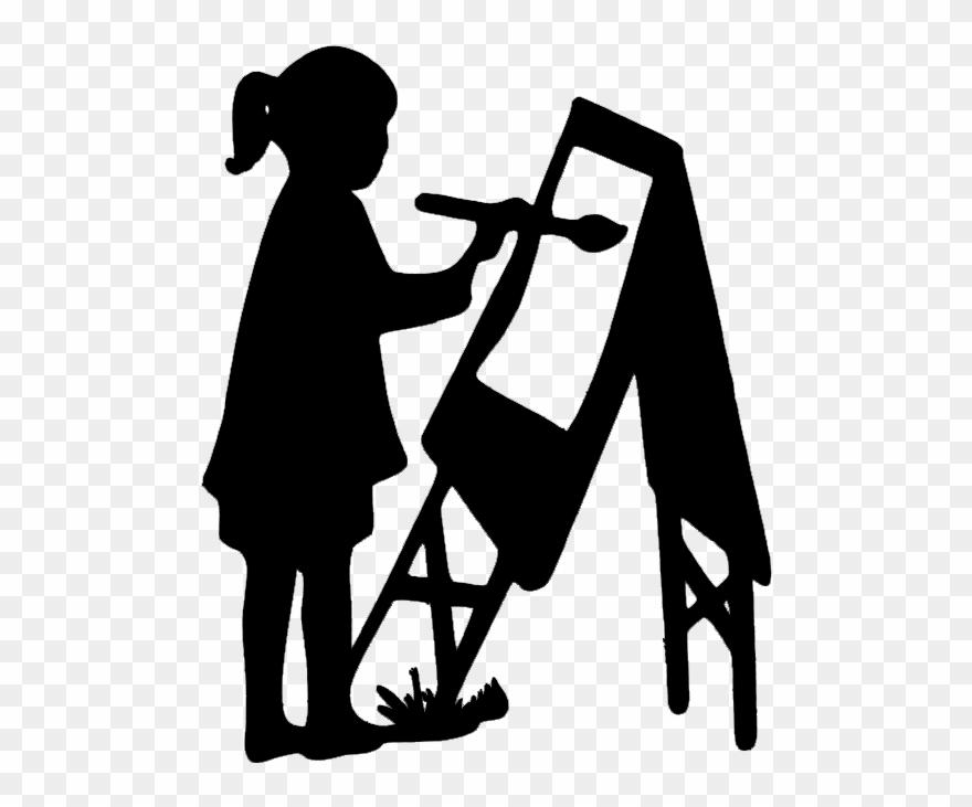 Black child painting clipart clip black and white stock Girl Painting Art Papier Découpé, Enfantin, Peinture - Child ... clip black and white stock