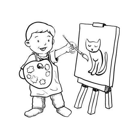 Black child painting clipart banner library download Boy painting clipart black and white 3 » Clipart Portal banner library download
