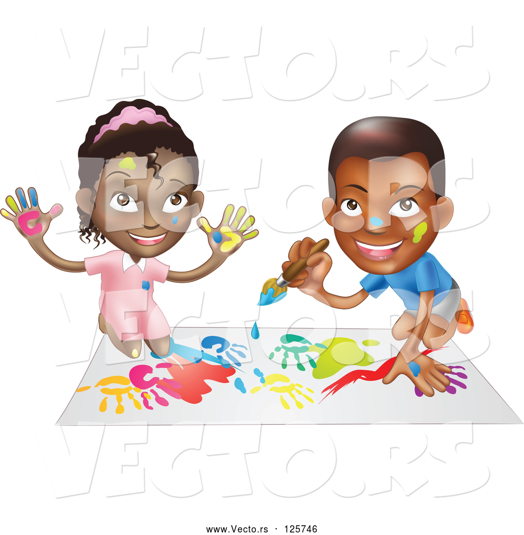 Black child painting clipart banner freeuse Vector of Black Boy and Girl Hand Painting and Painting Together by ... banner freeuse