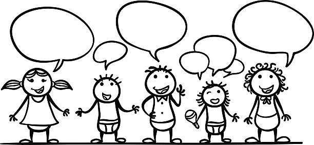 Black child speaking clipart png stock Child Talking Clipart Black And White png stock