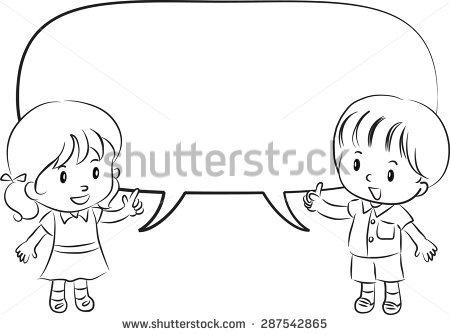 Black child speaking clipart vector Child Talking Clipart Black And White vector