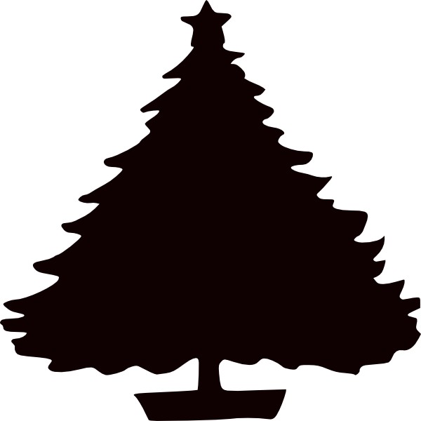 Christmas tree clipart silhouette png black and white library Black Christmas Tree Silhouette Clip Art at Clker.com - vector clip ... png black and white library