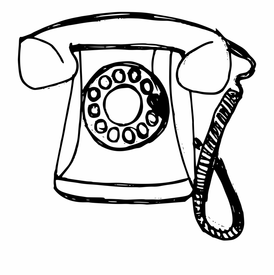 Black clipart old telephone png black and white library Free Download - Transparent Png Drawing Telephone Free PNG Images ... black and white library