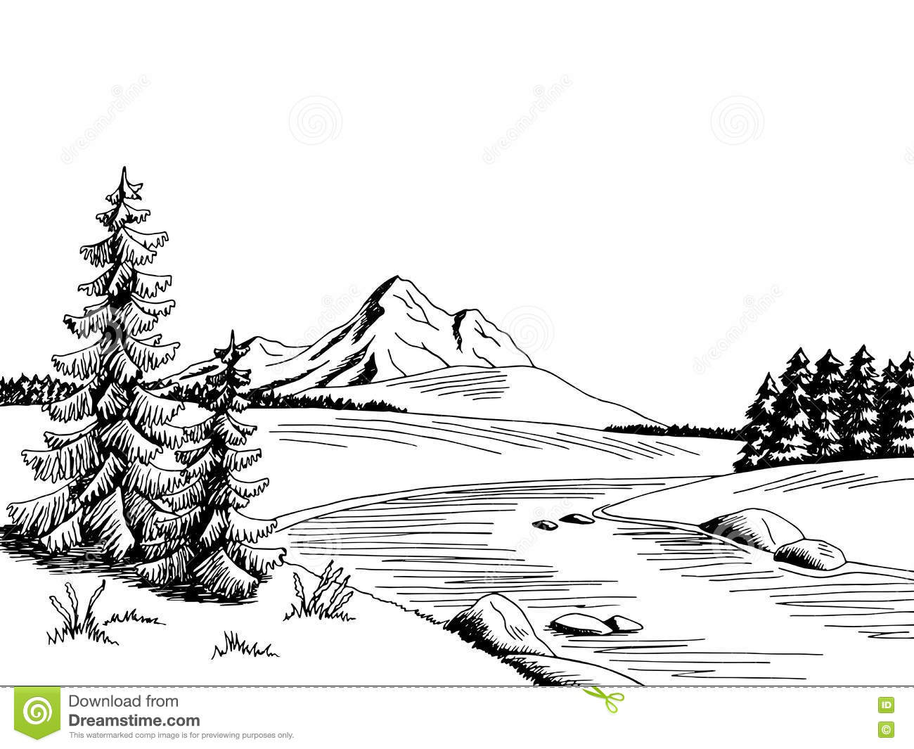 Valley between mountains black and white clipart image library Mountain Sketches Clip Art at PaintingValley.com | Explore ... image library