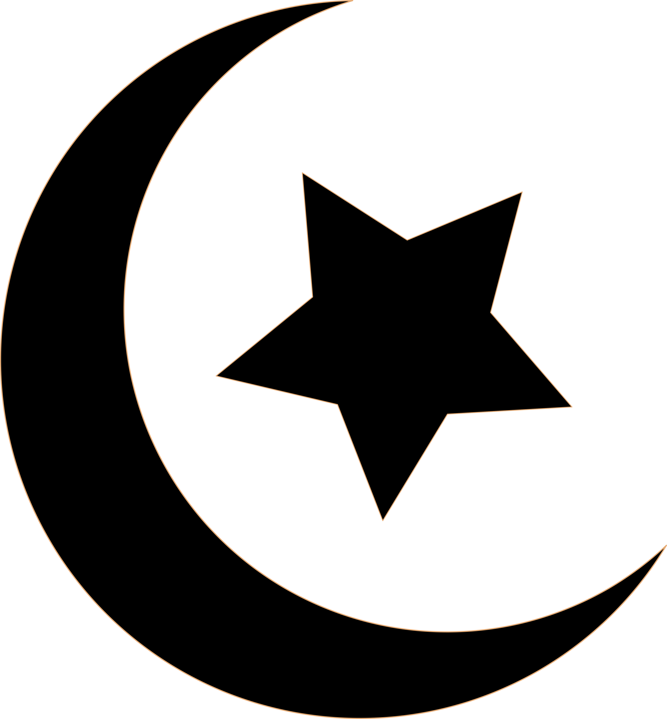 Star circle clipart black and white png Clipart - Black Crescent and Star png