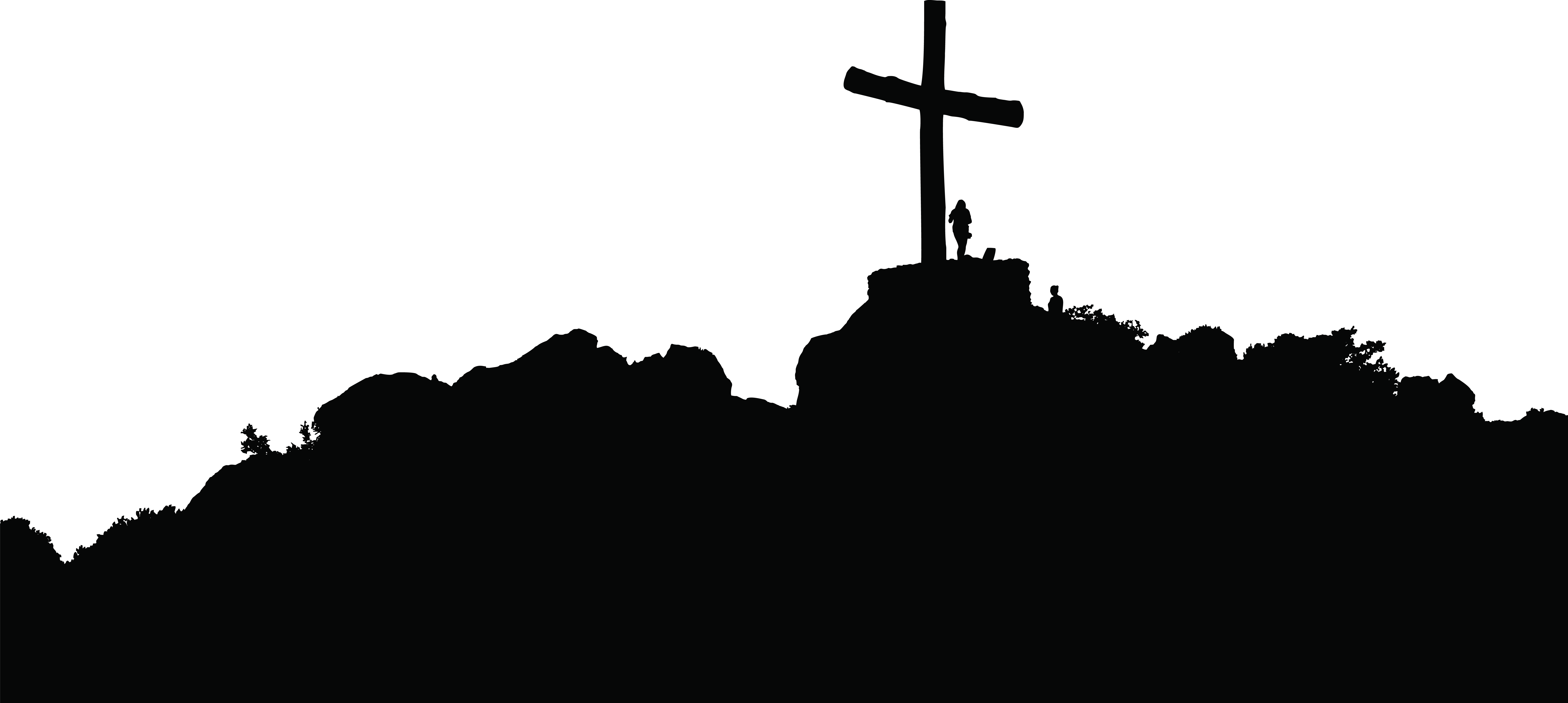 Black cross clipart png png stock Silhouette Christian cross Clip art - hill 8000*3584 transprent Png ... png stock