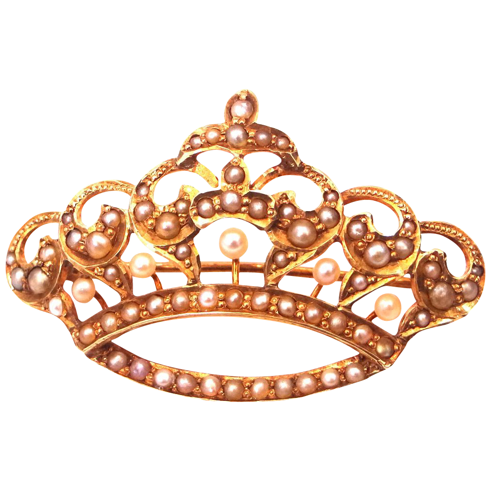 14k Gold & Seed Pearls Victorian Era CROWN Pin SOLD | Ruby Lane picture transparent stock