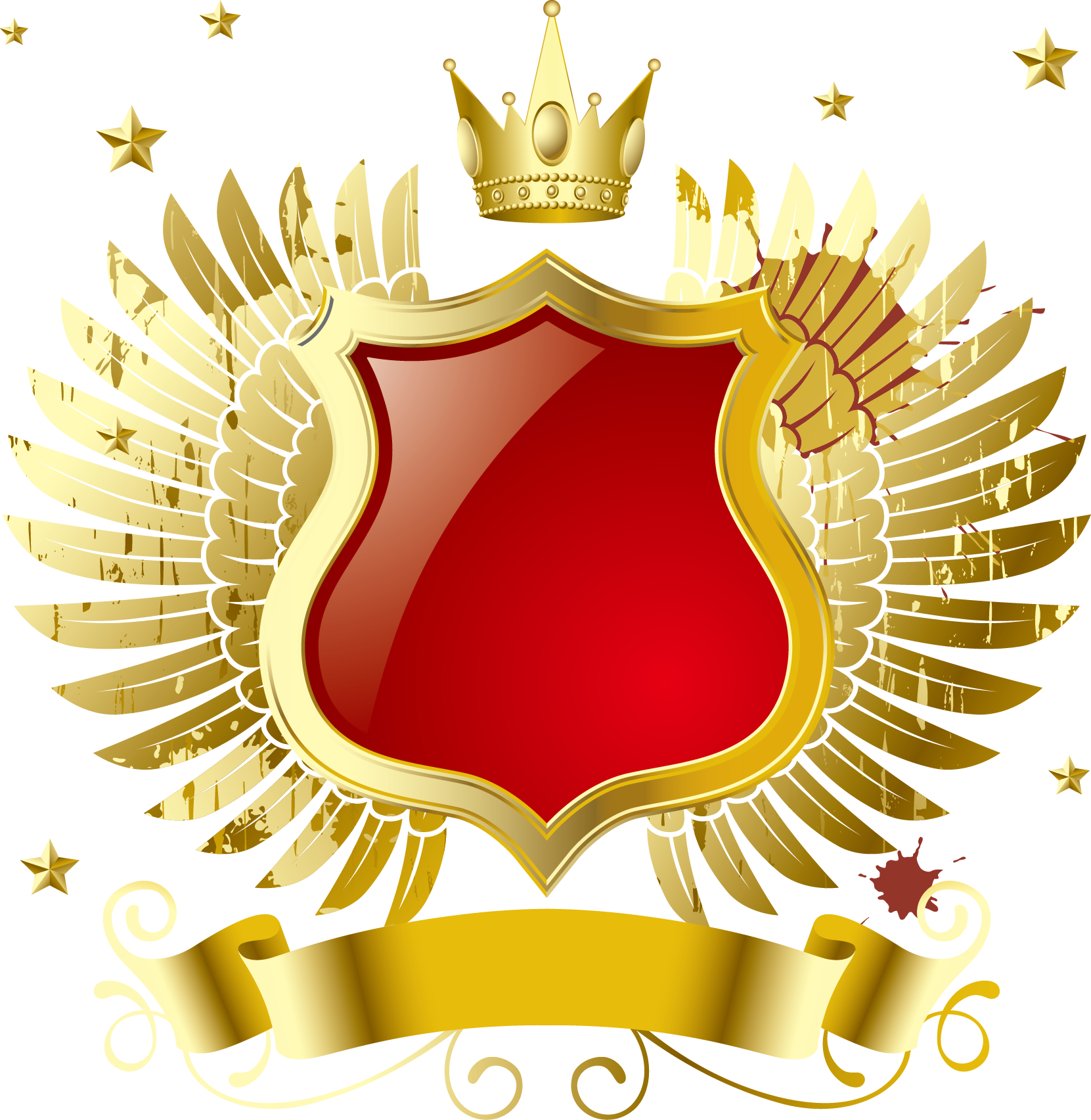 Download MP3 Computer file - Vector golden wings crown badge 1661 ... clip art transparent