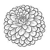 Black dahlia clipart clip library stock Dahlia clipart black and white » Clipart Portal clip library stock