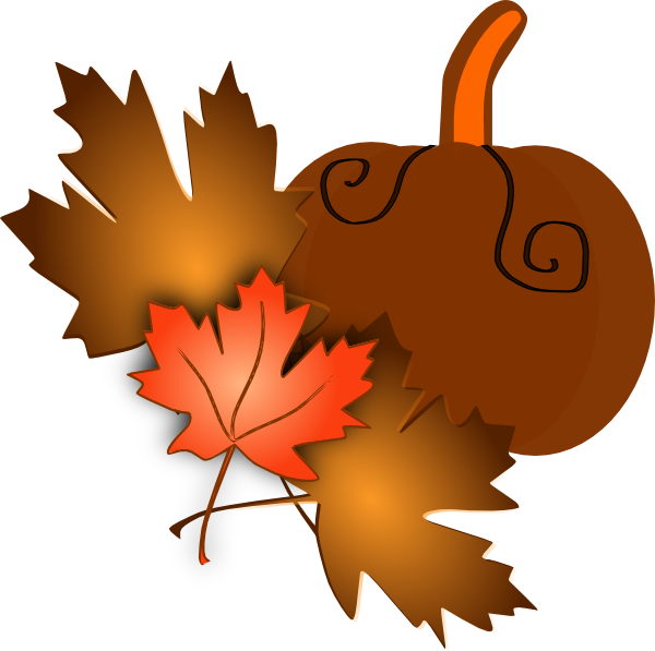 Fall clipart pumpkin png black and white download Pumpkin With Leaves Clip Art at Clker.com - vector clip art online ... png black and white download
