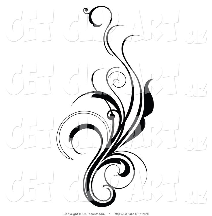 Black elegant underline clipart high def png transparent library Clip Art of an Elegant and Curly Black and White Design Scroll ... png transparent library