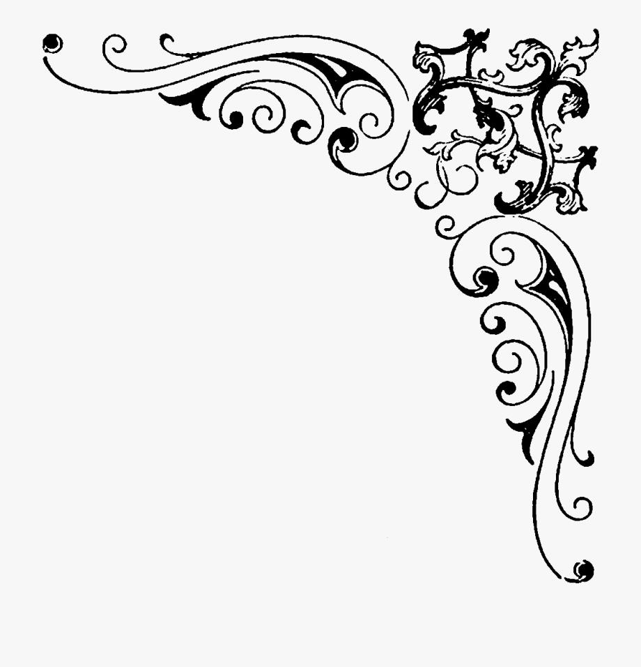 Black elegant underline clipart high def clip stock Swirl Clipart Corner - Black And White Border Design #350423 - Free ... clip stock