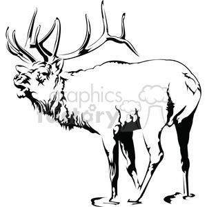 Black elk clipart image freeuse black and white Elk roaring clipart. Royalty-free clipart # 394991 image freeuse