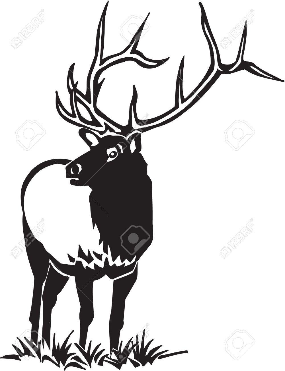 Black elk clipart banner black and white library Image result for black and white bull elk clip art   Elk   Bull elk ... banner black and white library