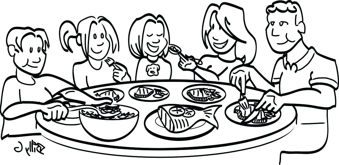 Black family dinner clipart image library library Dinner Table Drawing | Free download best Dinner Table Drawing on ... image library library