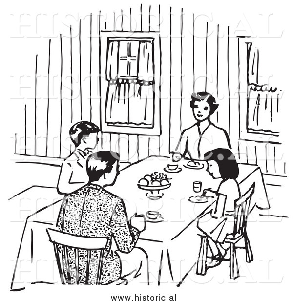 Black family eating together clipart jpg stock Clipart of a Family Eating at Dinner Table - Black and White Retro ... jpg stock